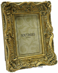 Sixtrees-Chelsea-Shabby-Chic-Vintage-Very-Ornate-Antique-Gold-Photo-frame-6-034-x4-034