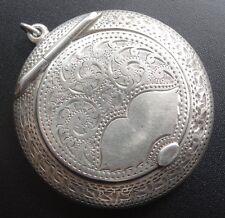 antique 1919 art deco h/m SILVER chatelaine pendant compact locket memento -C117