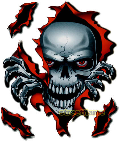 SKULL DECAL GRAPHIC for MOTORCYCLE WINDSCREENS