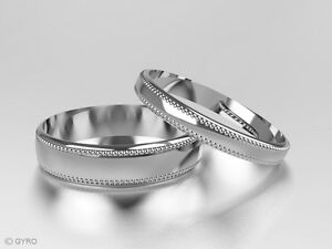 9ct White Gold His and Hers set of Wedding Rings Millgrain Pattern