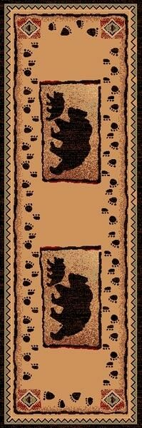2' X 7' COUNTRY THEME RUNNER  RUG  BEAR & BABY BEAR TAN Marronee CABIN LODGE