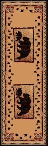 ~2/' X 7/' COUNTRY THEME RUNNER  RUG  BEAR /& BABY BEAR TAN BROWN CABIN LODGE