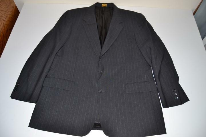 BROOKS BROTHERS BROOKSEASE grau CHARCOAL PINSTRIPED 2 BUTTON BLAZER  Herren SIZE 44