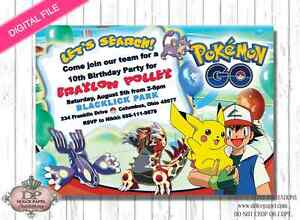 Image Is Loading Digital POKEMON GO Birthday Invitations Pikachu And Ash