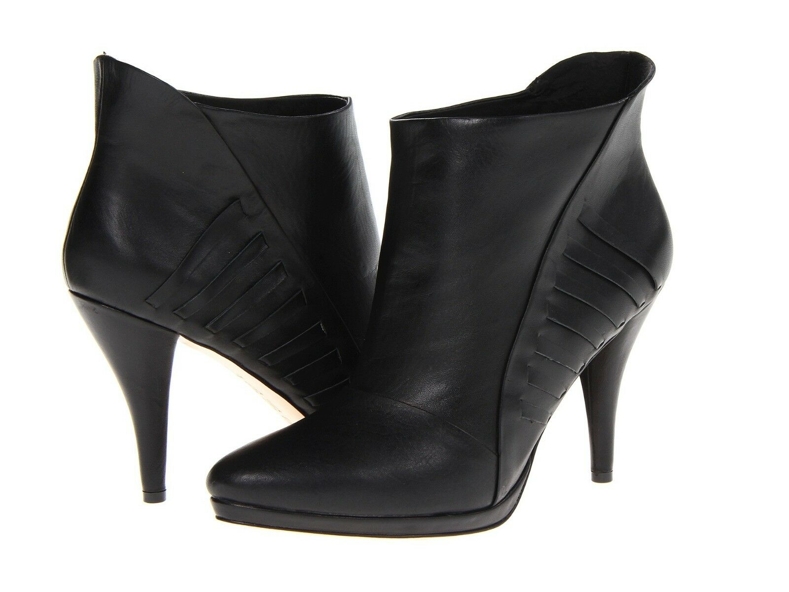 L.A.M.B. Nyla Black Woven Leather Ankle Boots Size 8