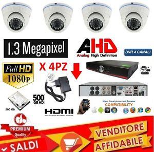 KIT-VIDEOSORVEGLIANZA-DVR-4-CANALI-4-TELECAMERA-INFRAROSSI-DVR-ALIM-DOME-HD-500