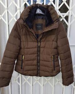 Zips 10 Fave Bloggers 8 Coat Collar Jacket Gorgeous M Rear Size Fur Zara Puffa f7wO0q