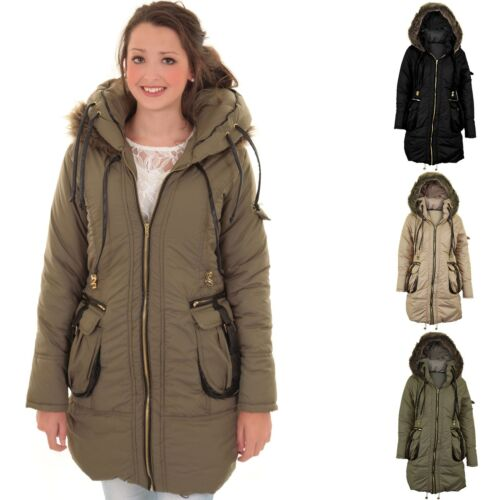 Ladies Fur Hooded Quilted Padded Puffer Zip Long Women's Winter Jacket Coat