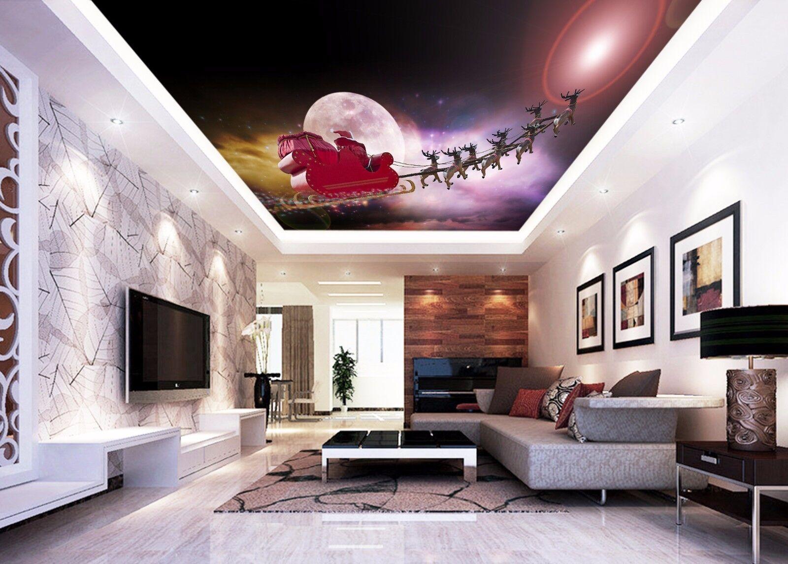 3D Moon Sky  Deer 75 Ceiling WallPaper Murals Wall Print Decal Deco AJ WALLPAPER