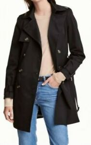 BNWOT DIVIDED BY H*M womens black double breasted belted trench coat/dress sz36