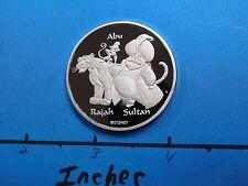 DISNEY ALADDIN GENIE ABU RAJAH SULTAN 999 SILVER COIN VERY RARE ONLY 1 ON EBAY
