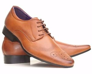Image Is Loading New Mens Leather Lined Italian Casual Formal Brogues