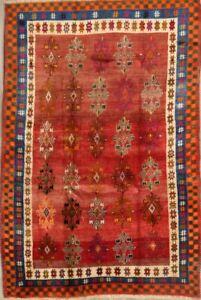 Vintage-Tribal-Geometric-Gabbeh-Area-Rug-Wool-Hand-Knotted-Oriental-Carpet-5x8