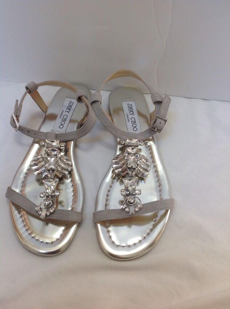 Jimmy Choo noche cristal cristal cristal adornado Zapato De Gamuza Sandalia Plana Talla 36 (6)  ordenar ahora