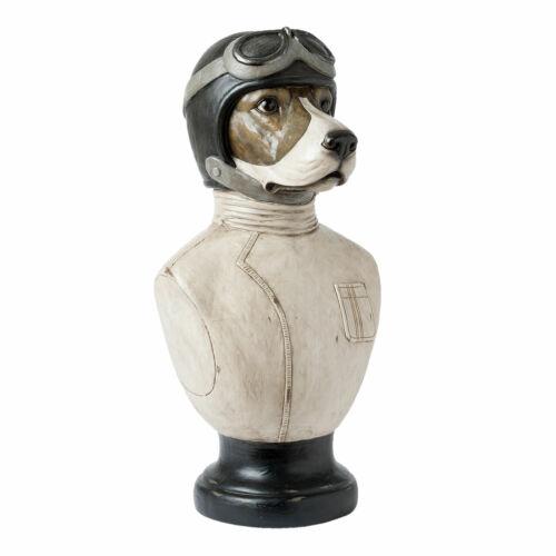 Chiens buste deco statue Moto chien buste 24 x 26 x 51 cm *