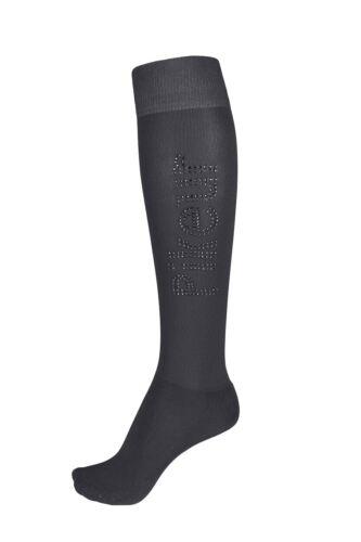Pikeur Knee Socks with Strass Logo in Asphalt