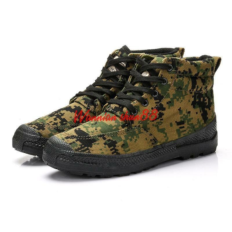 Mens high top canvas Ultra-light Qualitied Cap-Safety Work Boots Camo Trainers