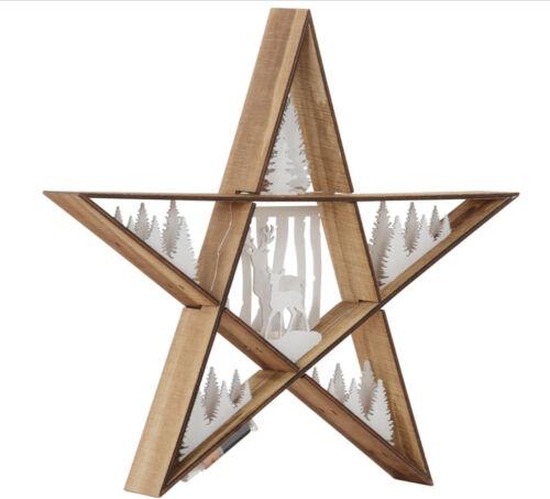 38,5 cm  warmweiß Holz 23489521 LED-Stern beleuchtet natur//weiß Ø ca