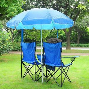 Image Is Loading Picnic Double Folding Chair W Umbrella Table Cooler