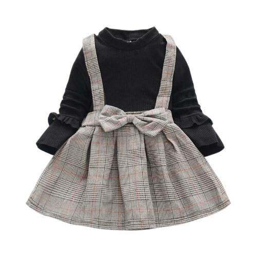 Fake 2pcs Plaid Princess Dress Kids Girls Autumn Long Sleeve Cotton Dresses R1BO