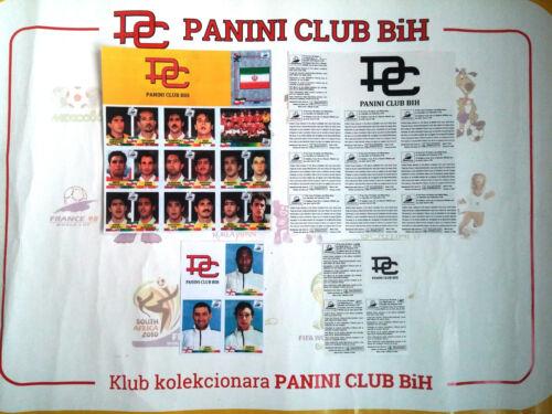 PANINI VALUE PACK FRANCE 98 IRAN 3x RARE ENGLAND PLAYERS SHEET PHOTOCOPY Ver 1