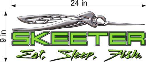 "24/"" Vinyl Vehicle Boat Decal Graphics Sticker SKEETER Eat Sleep Fish GREEN"