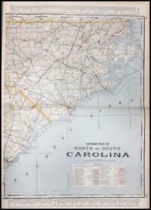 Details about NORTH & SOUTH CAROLINA MAP, large & detailed, original &  scarce 1901