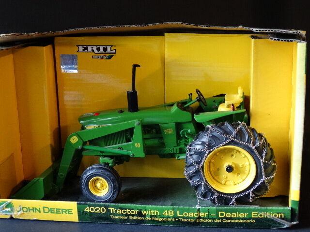 Ertl John Deere 4020 y 48 Cargadora cadena de neumático tractor de granja 1:16 Juguete Diecast Distribuidor
