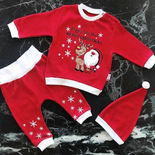 UK Christmas Newborn Baby Boy Girl Xmas Santa Claus Clothes Top Pants Hat Outfit