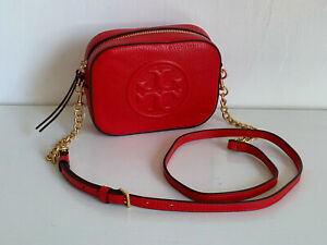 7517f557a942 NEW! TORY BURCH BOMBE LOGO BRILLIANT RED ROUND LEATHER CROSSBODY ...