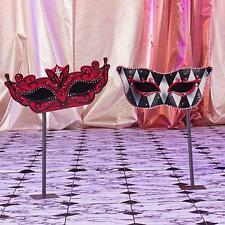 SMALL RED MASQUERADE MASKS ON STANDS * party decorations