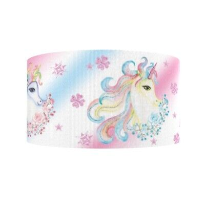 "1 2 3 METRE METRES SLEEPING UNICORN 2/"" GROSGRAIN RIBBON"