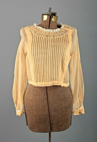 VTG Women's 20s Pale Orange Sheer Blouse Sz M 1920