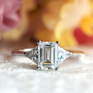 2.00 Ct Emerald Solitaire Moissanite Engagement Ring 18K Real White Gold Size 9