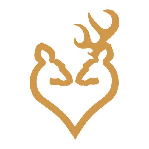 """2x Browning Arms Deer Heart Logo 2/"""" Vinyl Decal Sticker firearm guns rifles"""