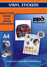 A4 Brillo Vinilo Auto Adhesivo Etiqueta engomada de papel X 5 Hojas