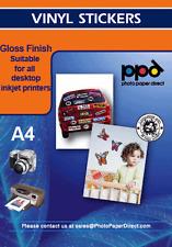 A4 Gloss Vinyl Self Adhesive Sticker Paper x 5 Sheets