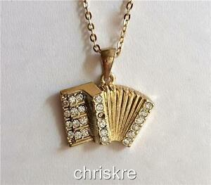 Gold-Crystal-Accordion-Necklace-Music-Musical-Instrument-Teacher-Gift-Plated