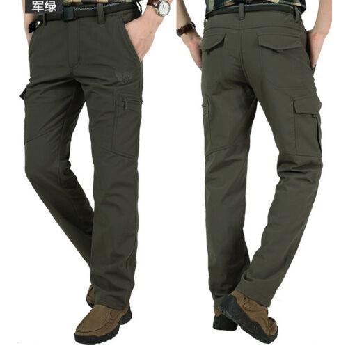 Men Cargo Combat Fleece Lined Trouser Work Outdoor Pockets Pants Waterproof Soft