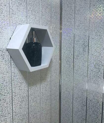 15 Platinum White Sparkle Chrome Shower Wet Wall Panels PVC Cladding Bathroom