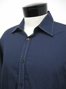 RARE-PARC-81-blue-embroidered-trim-casual-dress-shirt-M-15-5-16-mens-L-S-072