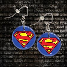 "**SUPERMAN** 1"" Button Dangle Earrings **FREE PIN** ~~USA Seller"