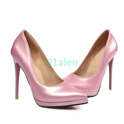 Womens Wedding High Stiletto Heel Shinny Leather 2017 Spring Shoes US 4-11.5 NEW