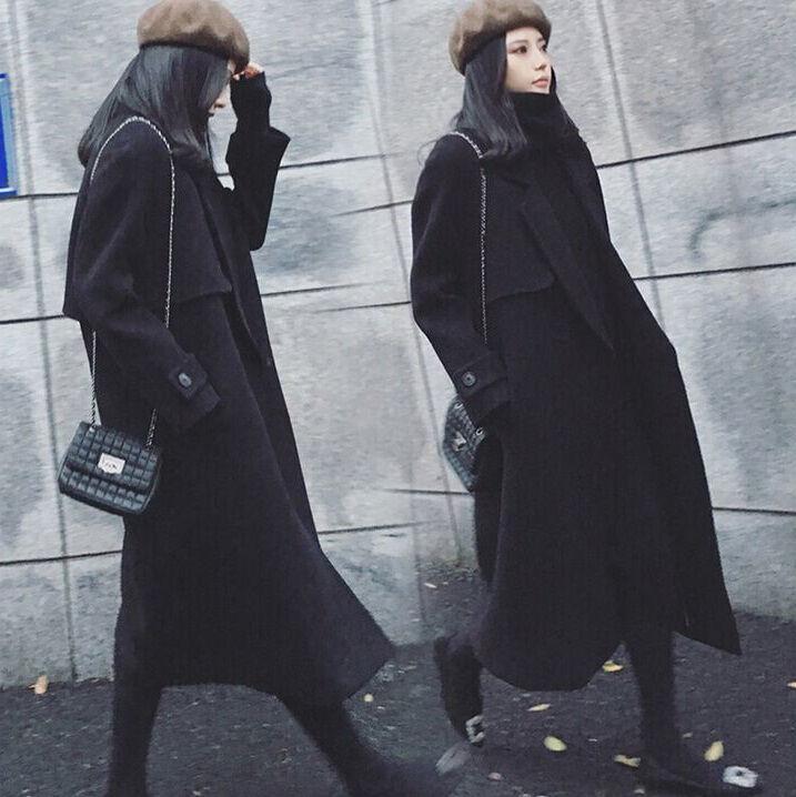 Women Full Long Woolen Blended Coat Coat Coat Belt Trench Silm Fit Overoat Windbreaker New 006286