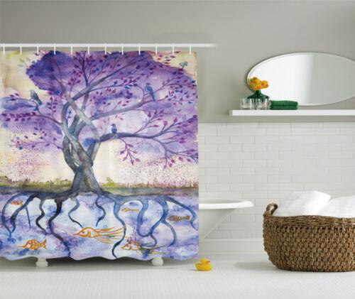 Purple Blue Tree of Life Painting Beige Fish Digital Fabric Shower Curtain