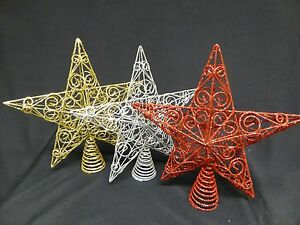 0ad1e2448465 Image is loading Large-Christmas-Tree-Topper-Glitter-Xmas-Decorations-30cm-