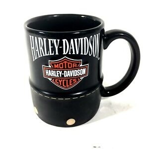 Harley-Davidson-Motorcycles-Black-Coffee-Mug-Cup-Simulated-Leather-Studded-Wrap