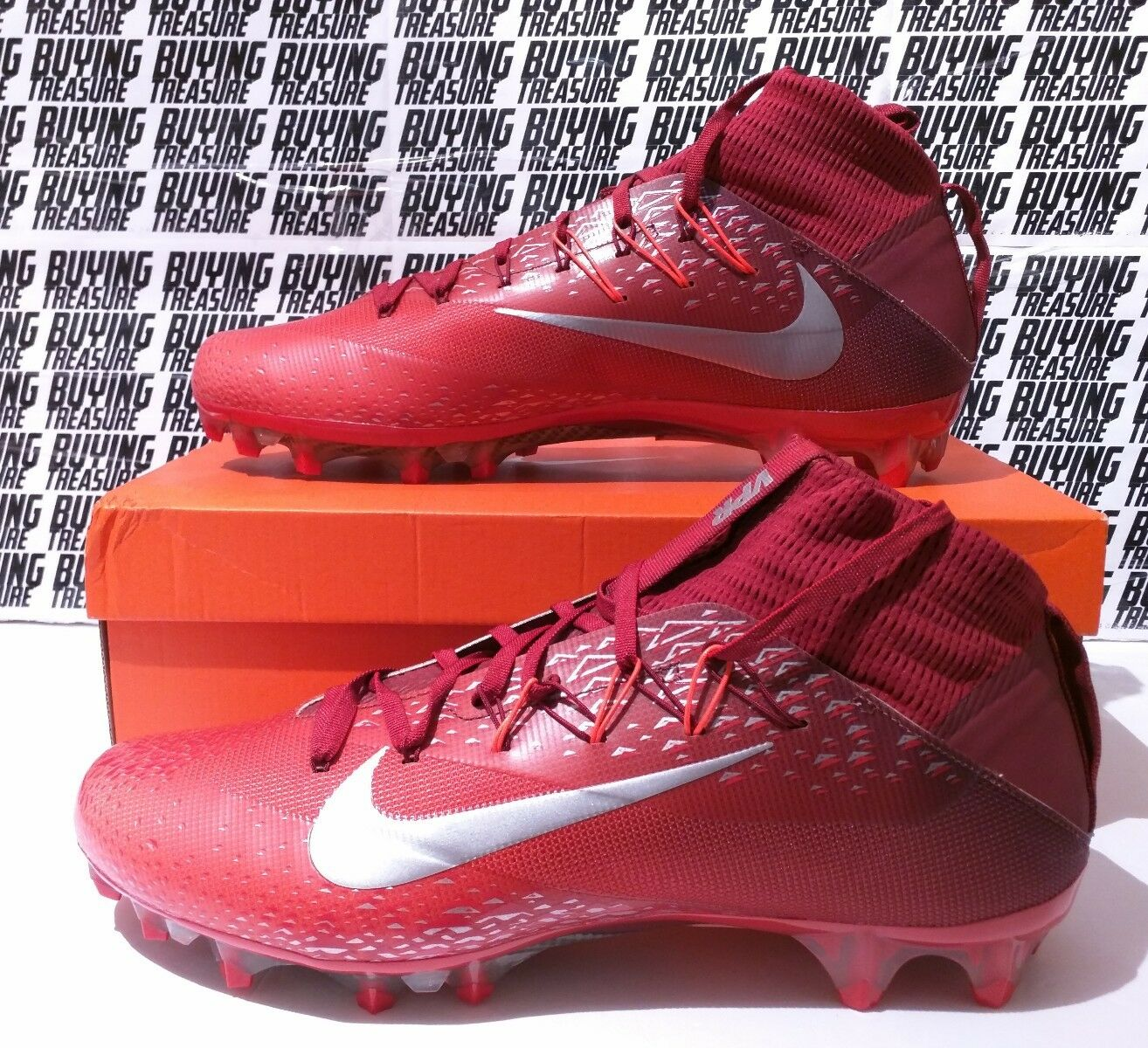 Nike Vapor Untouchable Football Cleats 824470-608 VPR Flyknit Red Burgundy Sz 12 The latest discount shoes for men and women