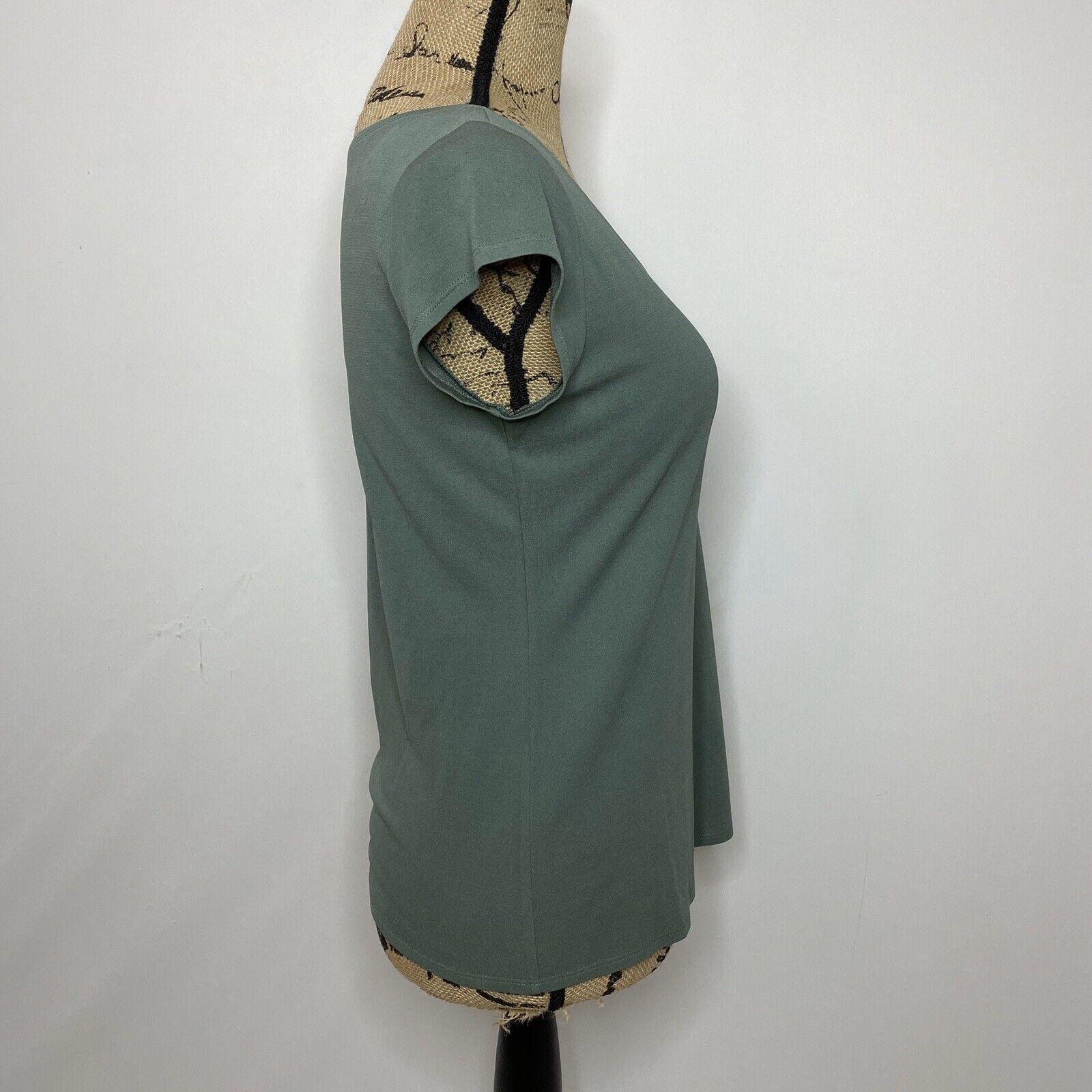 Eileen Fisher Silk Top XS Green Short Sleeve Shirt - image 4