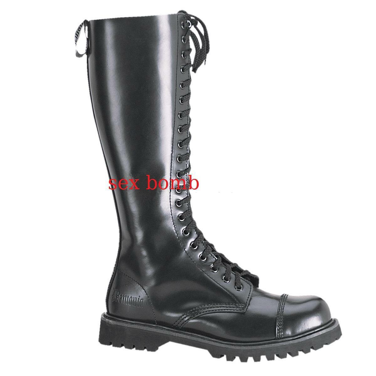 Boots LEATHER MEN laced heel rubber sole 3 cm from 36 to 45 BLACK rock unisex